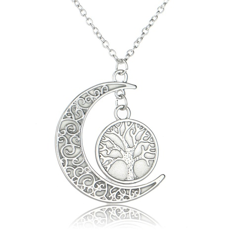 European and American hollow moon luminous tree of life clavicle chain accessories necklace jewelry wholesale NHDB445482's discount tags