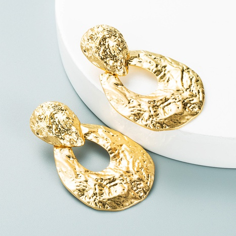 retro simple golden oval earrings personality earrings accessories NHLN445580's discount tags