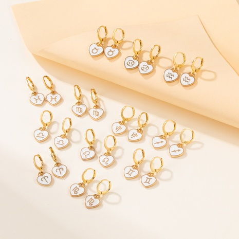 new fashion small creative constellation earrings personality white heart constellation earrings ear clip  NHYIA445664's discount tags