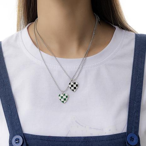 Simple niche lattice heart necklace female retro checkerboard peach heart pendant sweater chain NHPUX445747's discount tags