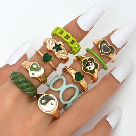 Style chinois personnalité de la mode potins amour anneau de peinture en aérosol combinaison multi-pièces nouveaux bijoux NHAJ445929's discount tags