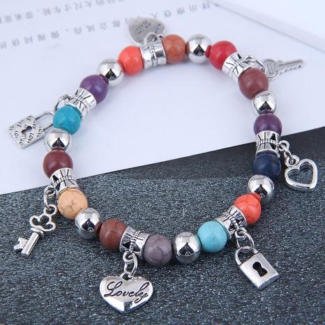 simple heart key lock multi-element pendant turquoise temperament bracelet NHSC445918's discount tags
