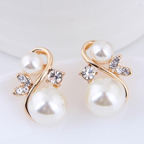 Korean metal inlaid pearl personality earrings NHSC445914's discount tags