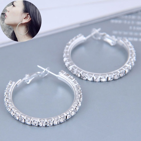 30mm Korean full diamond large circle high quality earrings  NHSC445913's discount tags