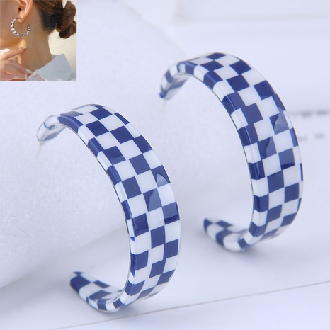 fashion simple acrylic check pattern temperament female earrings NHSC445907's discount tags