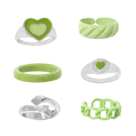 Automne nouveau style coréen anneau de goutte d'huile en métal vert anneau de joint de coeur ensemble en gros NHJQ448527's discount tags