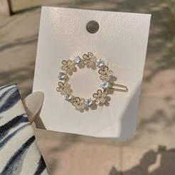 Korean personality hairpin headdress bangs top clip zircon flower side clip garland hairpin  NHZEJ448792