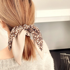 The new Korean French retro stitching floral simple streamer bow tie hair ring rubber band head rope NHHI448693