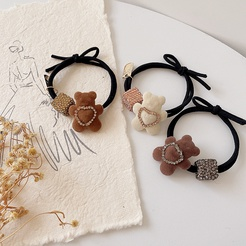 Korean new double-layer love full diamond bear hair ring rubber band headdress hair accessories NHHI448695