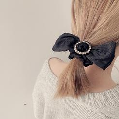 New Korea Retro Coffee Color Fabric Round Diamond Bowknot Circle Rubber Band Hair Tie NHHI448707