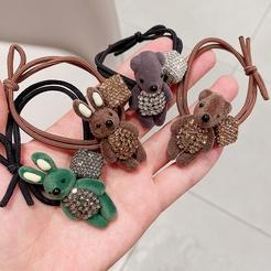 New Korean diamond-studded cartoon flocking small animal cute hair tie head rope rubber band hair accessories NHHI448708