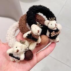 New Korean Cartoon Crown Bear Plush Hair Tie Rubber Band Hair Accessories Headdress NHHI448716