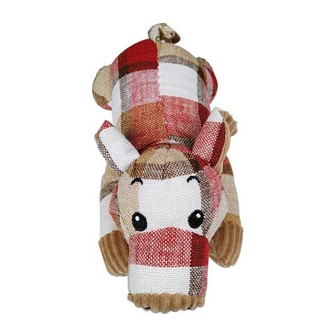 Mascota nuevo producto tela a cuadros felpa juguete que suena mentira cerdo perro juguete al por mayor NHSUJ448931's discount tags