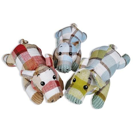 juguetes para mascotas nuevo juguete de felpa de tela a cuadros que suena juguete de perro de cerdo acostado al por mayor NHSUJ448932's discount tags