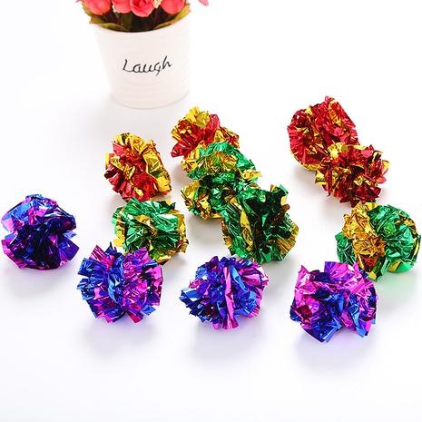 juguetes para mascotas 3 colores 12 piezas 1 paquete bola de papel de sonido bola de juguete para gatos juguete para gatos al por mayor NHSUJ448944's discount tags