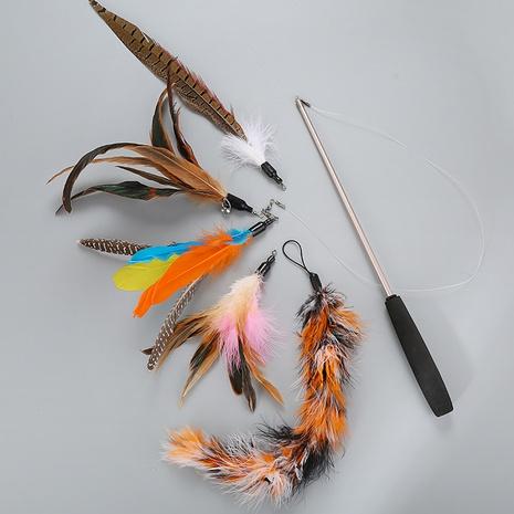 juguetes para mascotas juguetes para gatos nueva varilla telescópica cabeza de reemplazo de plumas cinco divertido juego de palos para gatos al por mayor NHSUJ448945's discount tags