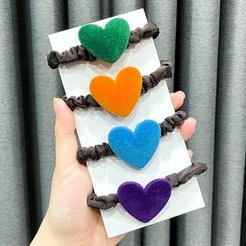 Color velvet love leather head rope new ponytail rubber band high elastic hair tie hair rope NHWB449424