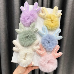 Cute three-dimensional plush antlers rubber band children's ball headdress hair ring Korean tie head rope NHWB449432