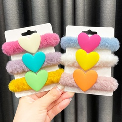 Plush hair ring autumn and winter new bright color love heart tie hair ponytail rubber band head rope hair rope NHWB449434