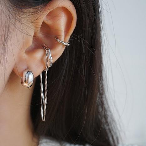 C-shaped earrings long asymmetric earr clip set ins personality tassel ear clip  NHGI457772's discount tags