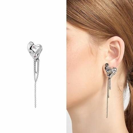 heart earrings long tassels French style light niche design earrings  NHGI457773's discount tags