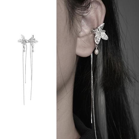 Pearl earrings female long tassel personality flower ear clip wholesale NHGI457780's discount tags