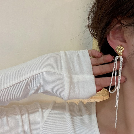 Long tassel pearl earrings Korean temperament niche high-end sense personalized earrings NHGI457781's discount tags