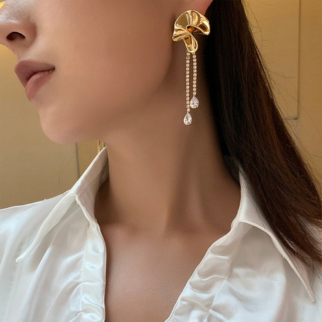 Long tassel earrings female French water drop ltemperament flower earrings NHGI457789's discount tags