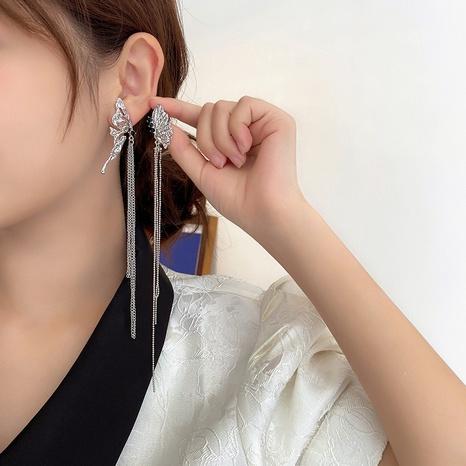 Butterfly earrings female Korean version long tassel niche design asymmetrical ear clip NHGI457796's discount tags