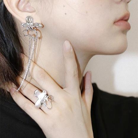 Butterfly tassel earrings Korean version of the long asymmetric design earrings  NHGI457816's discount tags