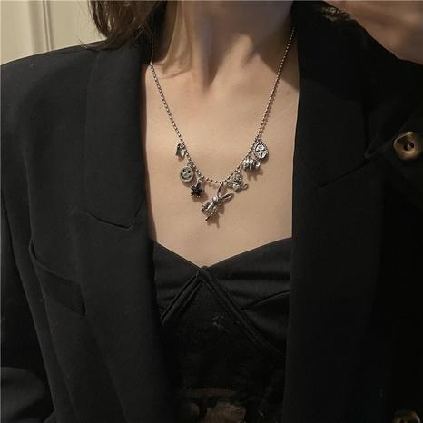 Korean smiling face cross rabbit pendant necklace wholesale NHYQ458069's discount tags