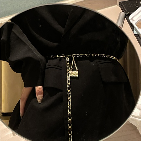 metal waist leather chain thin belt chain wholesale NHYQ458076's discount tags