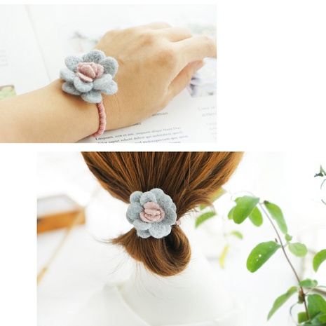 Fashion new woolen fabric camellia flower hair tie rubber band  NHAYP458084's discount tags
