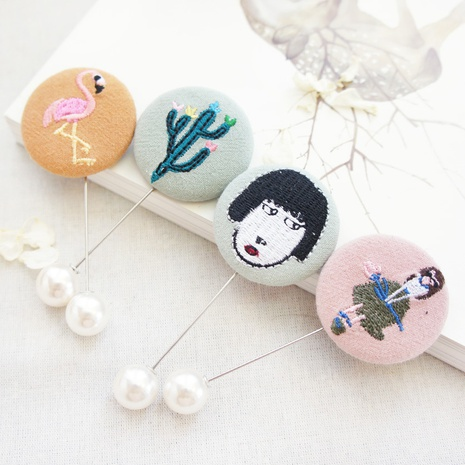 embroidery bag buckle pearl brooch fashion Korean brooch wholesale NHAYP458087's discount tags