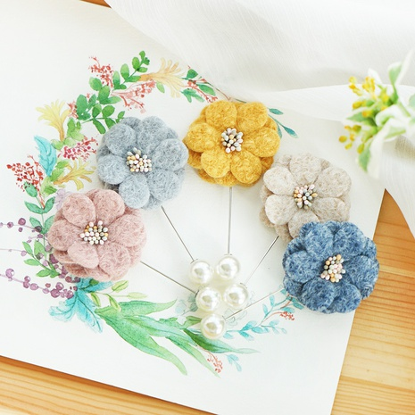 Fashion New Camellia Brooch Handmade Woolen Fabric Flower Brooch  NHAYP458106's discount tags