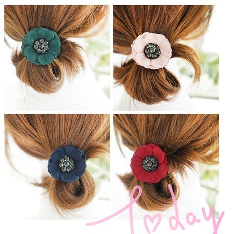 fashion rhinestone camellia flower hair tie head rope  NHAYP458107's discount tags