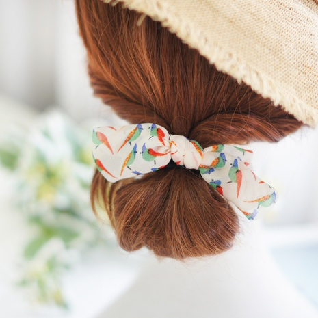 small floral Korean hair rope head rope bow hair rope knotted hair rope wholesale NHAYP458124's discount tags