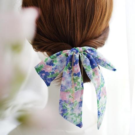 Korean chiffon printed fabric bow ribbon hair rope hair ring  NHAYP458144's discount tags