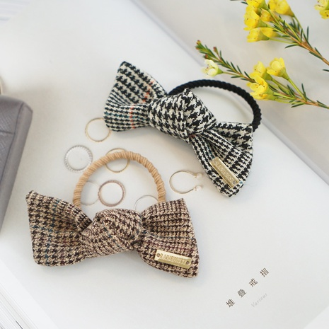 retro houndstooth bow hair rope head rope Korean plaid fabric rubber band hair ring  NHAYP458156's discount tags