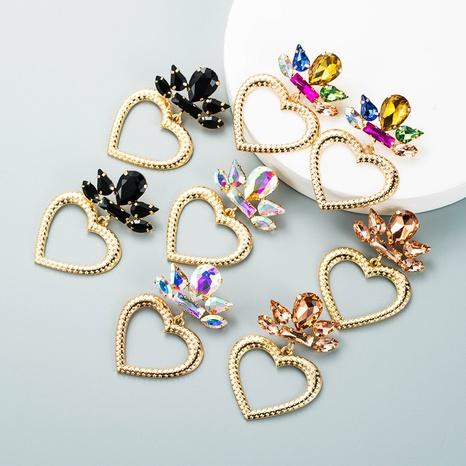 trend creative alloy rhinestone glass diamond heart-shaped pendant earrings party wild earrings wholesale NHLN458228's discount tags