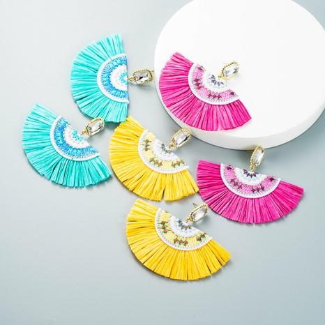 fashion trend new alloy fan-shaped raffia fringe earrings bohemian earrings NHLN458232's discount tags