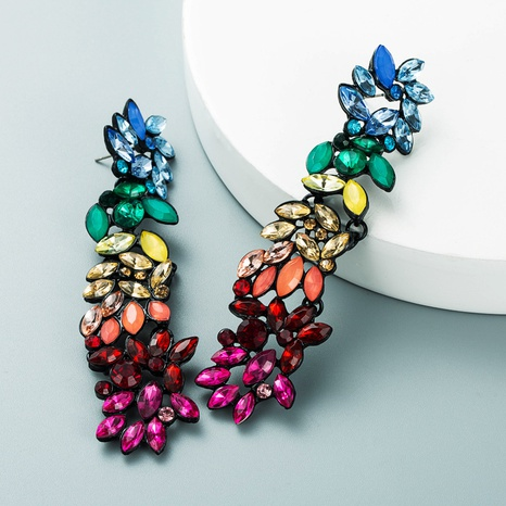 fashion color matching color geometric flower long earrings bohemian temperament earrings NHLN458234's discount tags