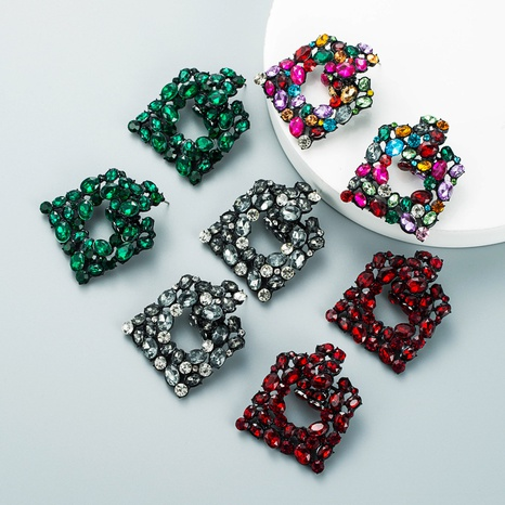 fashion exaggerated geometric square alloy diamond hollow earrings NHLN458332's discount tags