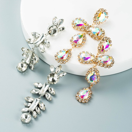 retro geometric cross alloy diamond earrings long temperament full diamond earrings NHLN458333's discount tags