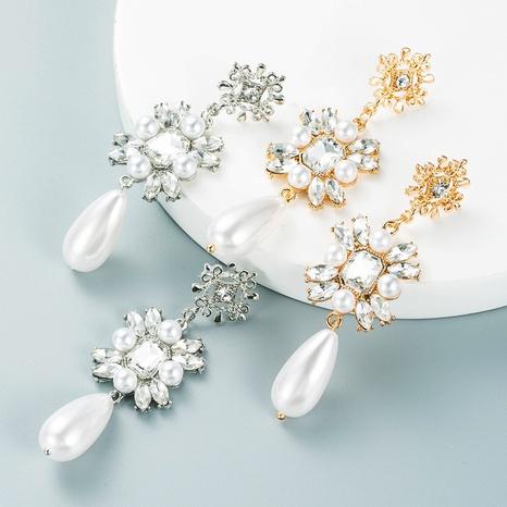 fashion temperament long pearl earrings alloy diamond personalized earrings NHLN458335's discount tags