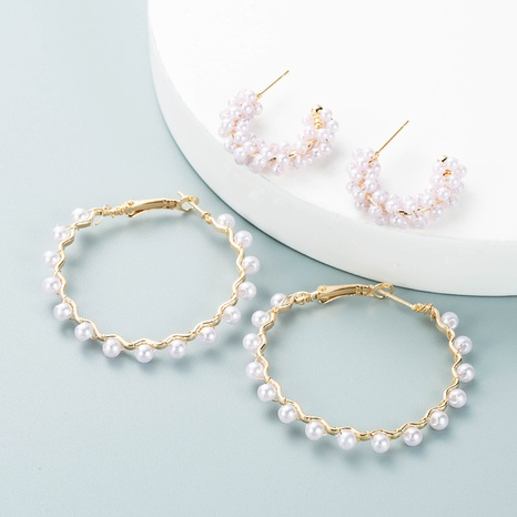 fashion retro earrings alloy all-match inlaid pearl rhinestone C-shaped hollow earring NHLN458336's discount tags
