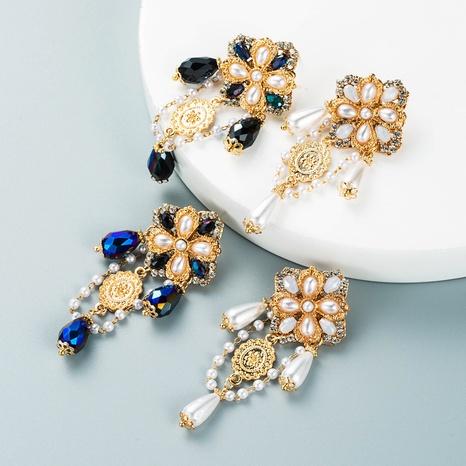 retro baroque palace style crystal pearl flower tassel earrings alloy diamond earrings NHLN458338's discount tags