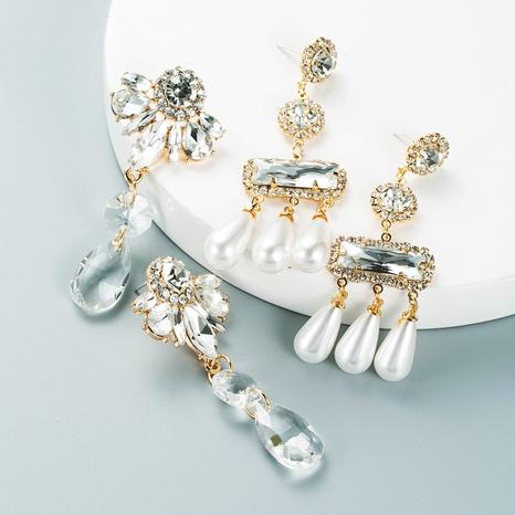 Korean Fashion Temperament Crystal Pearl Earrings Rhinestone Gem Long Tassel Earrings NHLN458339's discount tags