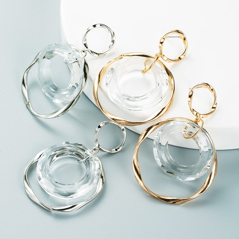 personality exaggerated irregular transparent glass circle earrings NHLN458340's discount tags
