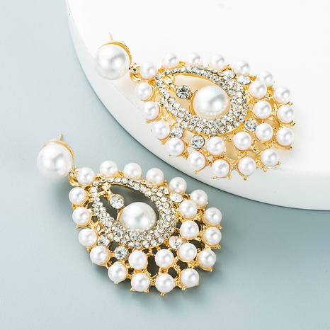 Korean national style water drop alloy inlaid rhinestone pearl earrings NHLN458342's discount tags